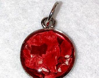 """1/2"""" Eggshell Mosaic Silver circle bezel (#602)"""