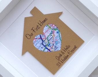 Housewarming gift, new home gift, first home gift, new house gift, map art, wall art, personalised frame, personalised housewarming gift