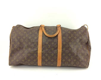 SALE Authentic Louis Vuitton Keepall 50 Large Carry all Weekender Travel Bag Hand Bag Shoulder Bag Purse Monogram