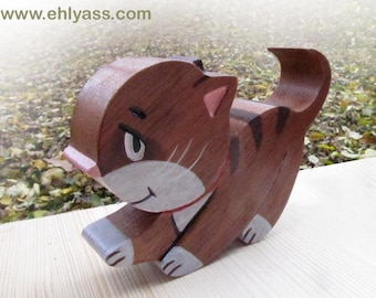 Painted wood carved fretwork kitten sculpture