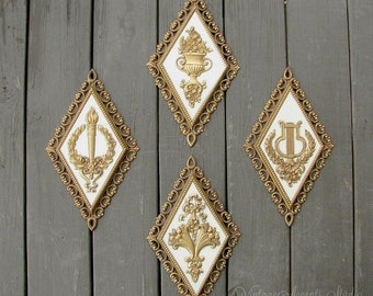 4 Vintage Homco Plaques | 1971 Home Interiors | Ornate Gold Finish | Hollywood Regency Wall Hanging | French Chic Home Decor | Made in USA