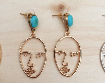 FREE SHIPPING - Face Silhouette earrings - funky face - silly face