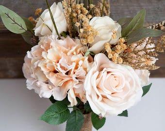 Blush Peach Bouquet, Small Bridal Bouquet, Feather Bouquet, Rustic Bridal Bouquet, Silk Flower Bouquet, Peach Bouquet, Boho Bouquet