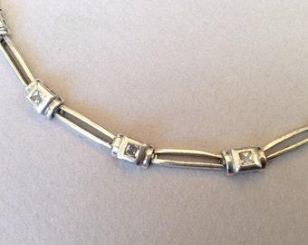 DBJ Designed Enchanting Princess Cut CZ  Minimalist Sterling Silver Bracelet