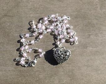 Silver Heart, Heart Pendant, Beaded Necklace, Handmade Jewelry, Valentine Necklace, Valentine Heart, Light Pink Necklace, Valentine Pendant
