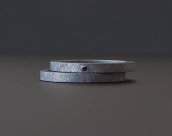 Black Diamond Ring Set - Rough Oxidized Sterling Silver -  Flush Set Diamond - Modern Engagement Rings - Alternative Wedding Rings
