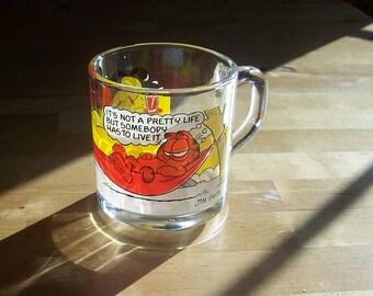 Vintage Garfield Mug - McDonald's Garfield on a Hammock Glass Mug - 1970s Glassware - Fat Cat Garfield Odie Collectible Houseware
