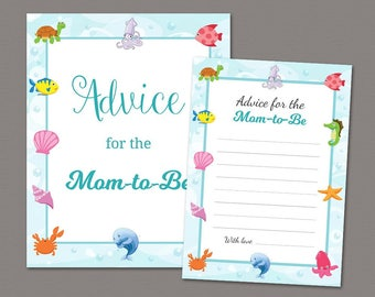 Advice For Mommy Cards & Sign, Advice for Mom-to-be, Under the Sea Theme, Underwater, Baby Shower Games Printable, Mommy To Be Advice, B006