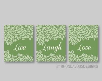 Bedroom Art - Live Laugh Love Wall Art - Bedroom Wall Art - Bathroom Decor - Home Decor - Living Room Art - Sage Green and Ivory (NS-405)