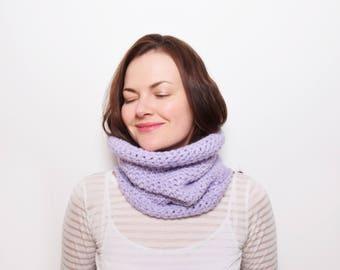 Purple Crochet Neckwarmer, Crochet Snood, Minimalist Winter Scarf, Infinity Scarf, Crocheted Neck Warmer, Womens Cowl Scarf, Gift for Her