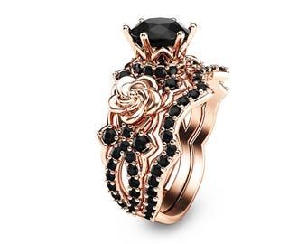 Black Diamond Gold Engagement Ring Set 14K Rose Gold Flower Engagement Rings Unique Natural Black Diamond Rings