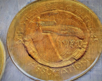 2 Mid-West Tool Collectors Association--2 Glass plaques--1980