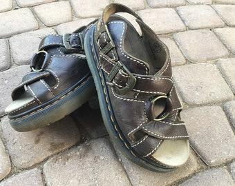 Vintage Dr. Martens Brown Leather Sandals - Women's Size 7