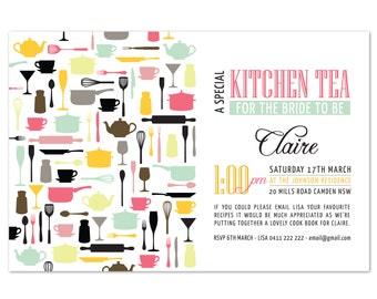 Imprimable sur mesure cuisine thé/Bridal Shower Invitation - casseroles