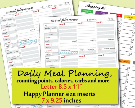 printable daily food journal template points and calories