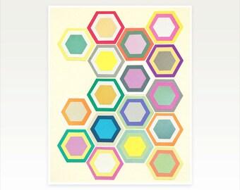 Geometric Honeycomb, Hexagon Pattern Print, Modern Art, Colourful Decor - Honeycomb Layers II