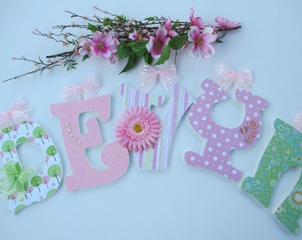 "DEVYN - 12.00 PER LETTER Girl's name, 9"" letters, wooden nursery letters, pink sunflower, buttons, bows, green and pink"