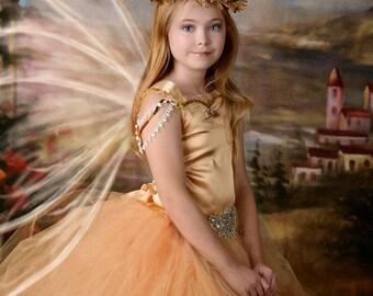 Gold Corset Back Fairy Flower Girl Dress / Fairy Dress / Princess Dress / Formal Dress / Prom Dress / Festival Clothing / Bridesmaid Dress