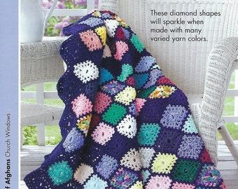 Church Windows Crochet Afghan Blanket Pattern, Home Decor, Bedspread, Sofa Throw, Bedding, Annie's Scrap Crochet