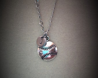 Softball/Baseball necklace Sport jewelry Personalized Initial necklace Best Friend necklace Charm necklace Friendship necklace