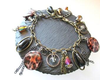 Boho Bracelet, Leopard Print Beaded Bracelet, Fringe Bracelet, Mixed Metal Bracelet, Animal Print Bracelet, Dangle Bracelet, Charm Bracelet