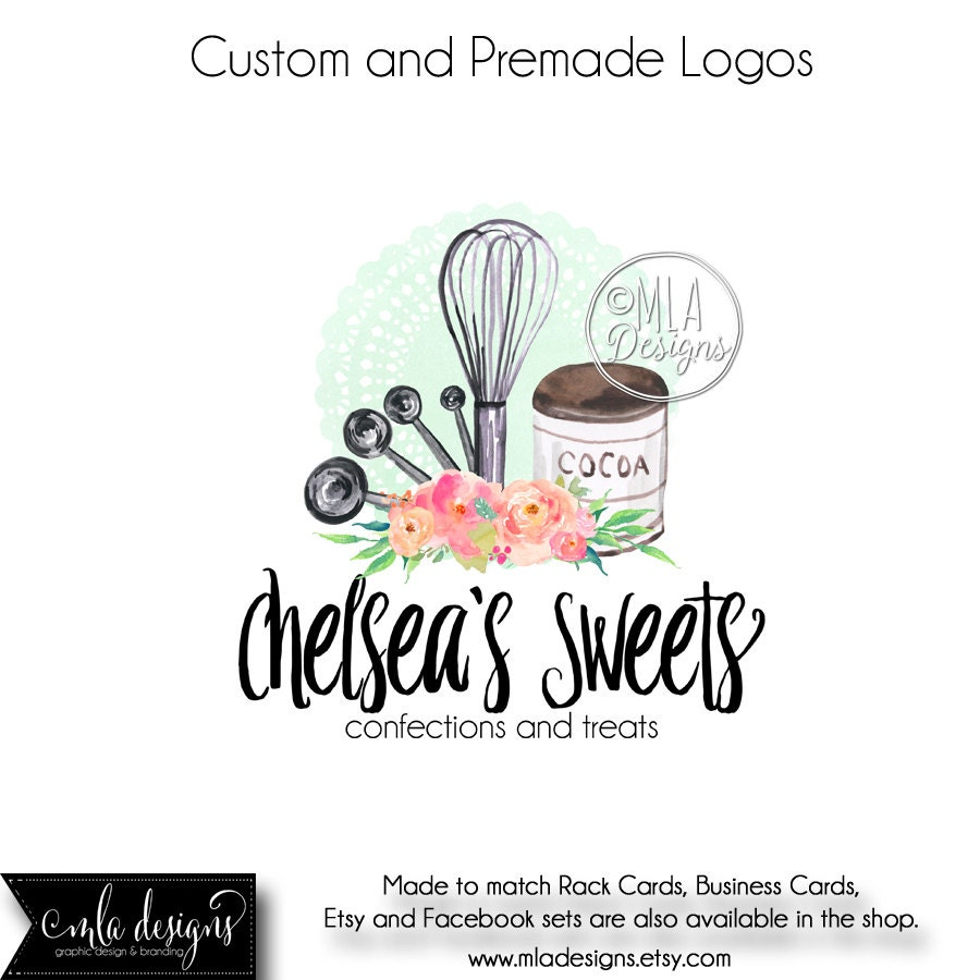 Kitchen Interior Logo: Baking Logo Premade Logo Baking Watercolor Logo Bakery