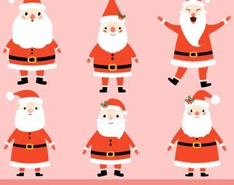 cute santa clipart christmas santa clip art santa face rh etsy com cute santa hat clipart cute santa claus clipart