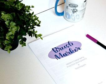 Brush Marker Modern Calligraphy Practice Worksheets & Techniques - Printable - Digital Download - Lettering Practice - Brush Lettering