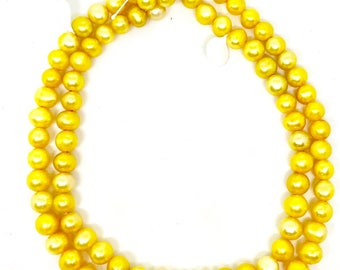 Bright Yellow Freshwater Pearl Bead Strands