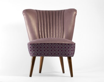 Large Mauve Club 70's – restored coctail chair