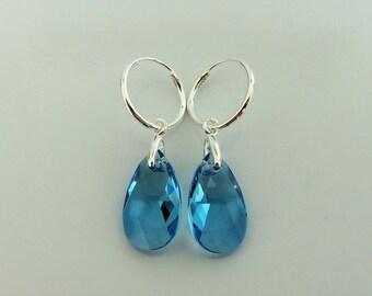 Sterling Silver 15mm x 10mm Blue Swarovski Crystal Pear Drop Hoop Earrings.