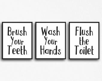 Bathroom Decor, Black and White bathroom decor, instant download, 8x10 jpg and pdf, Brush your teeth, Wash your hands, Flush the toilet