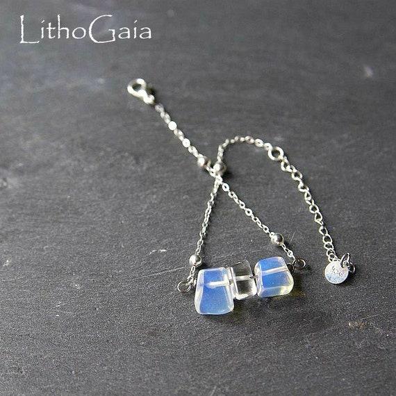 Opaline Bar Bracelet or Anklet 925 Sterling Silver, birthstone Bracelet, Opaline jewelry, Zodiac Gift for Her, Opaline beaded Anklet