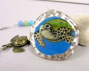 Sea Turtle Necklace Handpainted, Sea Turtle Pendant, Sea Turtle Jewelry with Turtle and Star Fish Charms, Blue, Green and Purple Glass Beads