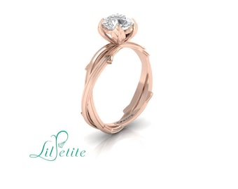 nature inspired engagement ring, unique alternative ring, rose gold leaf engagement ring, twisted twig band, forever one moissanite ring