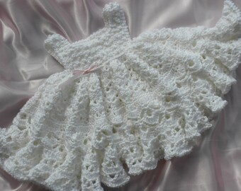 Crocheted Christening Gown, Crochet Baby Dress,  Crochet Heirloom Baby Dress, Photo Prop Baby Dress, Crochet Blessing Dress, Baby Crochet