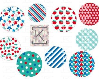 Images digital summer print for cabochons, badges.