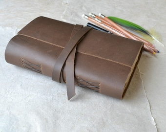 Rustic Leather Journal with Rough Brown Sketch Paper