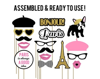 Paris Photo Booth Props . Parisian Photo Booth Props . Eiffel Tower . Bonjour . French Beret . Set of 16 . French Bulldog