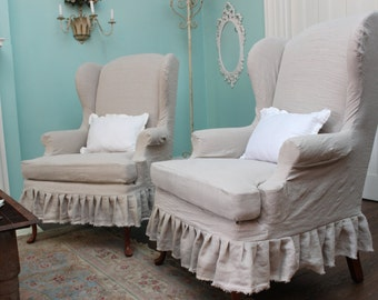 Slipcovered Wingback Chair Pair French Linen Shabby Chic Ruffle Cottage  Slipcover Prairie Custom Order