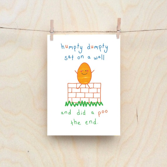Humpty dumpty card, Rude kids cards, Silly Children's cards, Toddler rude words card, funny kids card. funny birthday card.