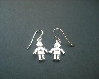 Matte Adorable Robot Charm Earrings