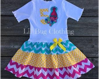 Poppy Troll Dress, Poppy Troll Birthday, Poppy Troll Birthday Party Outfit, Spring Girl Dress, Troll Girl Clothes, Poppy Girl Costume