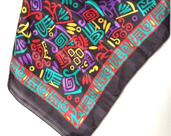 Vintage 80's multicolour polyester scarf/ Vintage square colour scarf/Hipster abstract print Italian scarf/Women's embossed polyester scarf