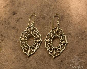 Gold Dangle Earrings, Vintage Style, Lightweight Earrings, Womens Gifts, Womens Earrings, Boho Bohemian Tribal Gypsy
