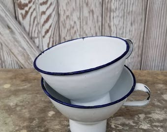 Vintage Enamelware Funnels ~ White Enamelware ~ Canning Funnel ~ Enamel Funnel ~ Farmhouse Kitchen
