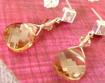 Champagne Earrings, Bridesmaid Wedding Jewelry, Crystal Earrings, Yellow Teardrop, Cubic Zirconia Posts Sterling Silver, Handmade Jewelry