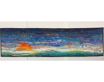 Modern art quilt. Abstract textile art. Modern home decor. Contemporary quilt. 17x63 inches. Wall art. Landscape hanging. Modern fiber art.
