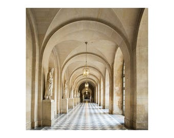 Neutral Paris Photography - Versailles Hallway - French Home Decor - Neutral Photography Print - Paris Wall Art - Square Art Print