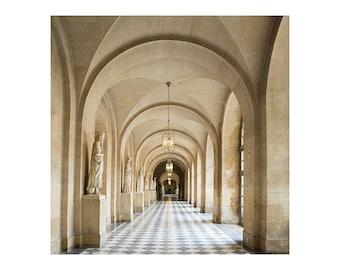 Neutral Paris Photography - Versailles Hallway - French Home Decor - Neutral Photography Print - Paris Wall Art - Square Art Print